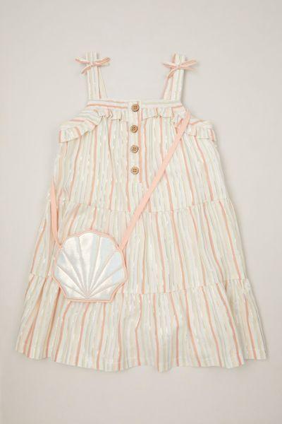 Glitter Stripe Dress & Seashell Bag