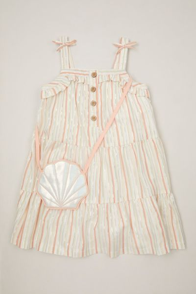Glitter Stripe Dress & Seashell Bag