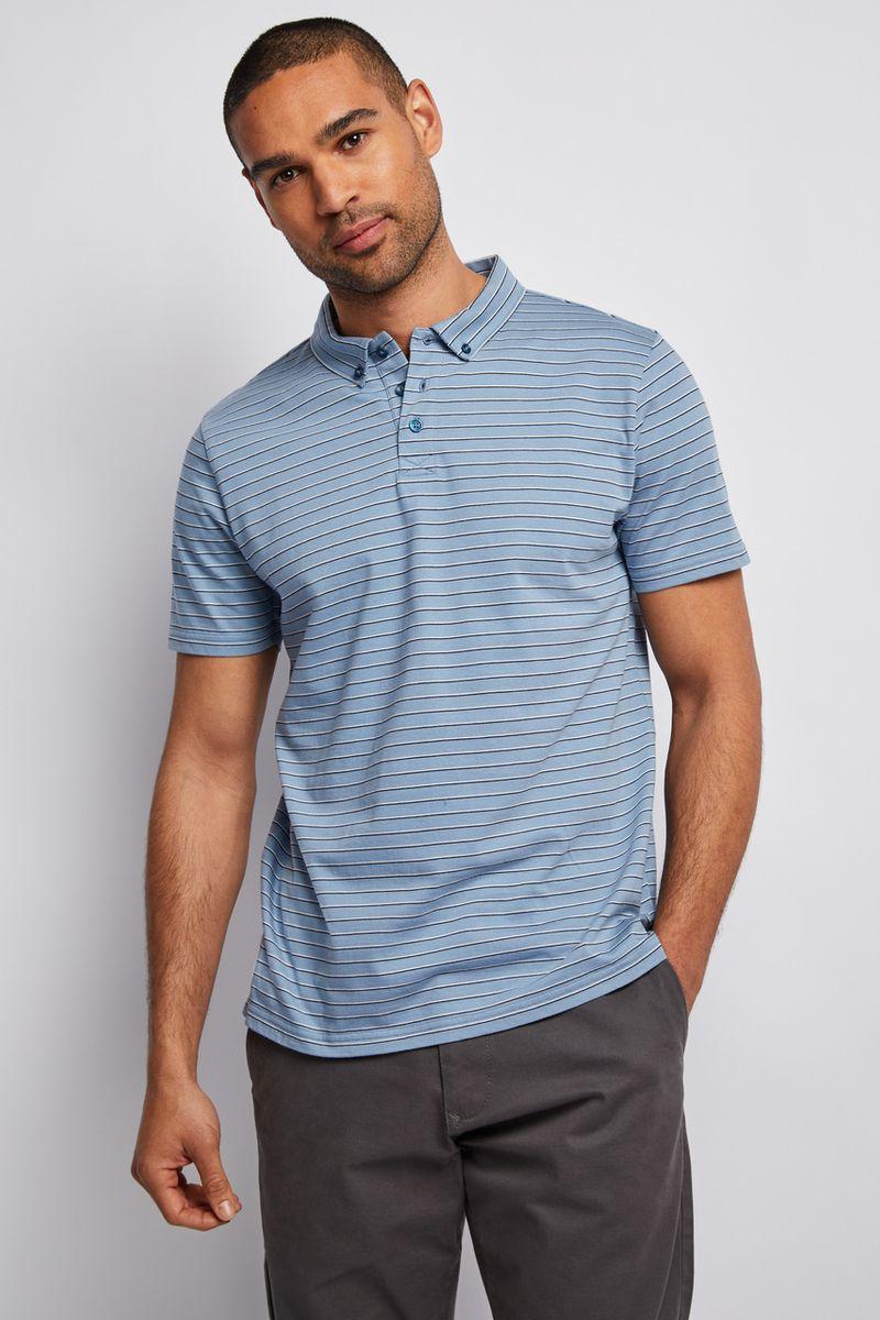 Blue Stripe Jersey Polo Shirt