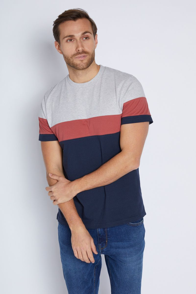 Navy Colour Block T-shirt