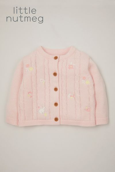 Little Nutmeg Pink Bunny Cardigan