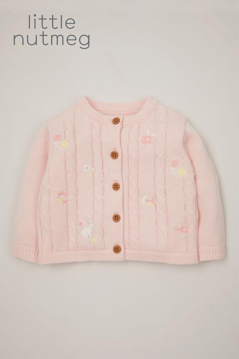 Little Nutmeg Pink Bunny Cardigan