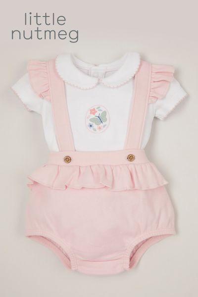 Little Nutmeg Pink Bunny Romper Set