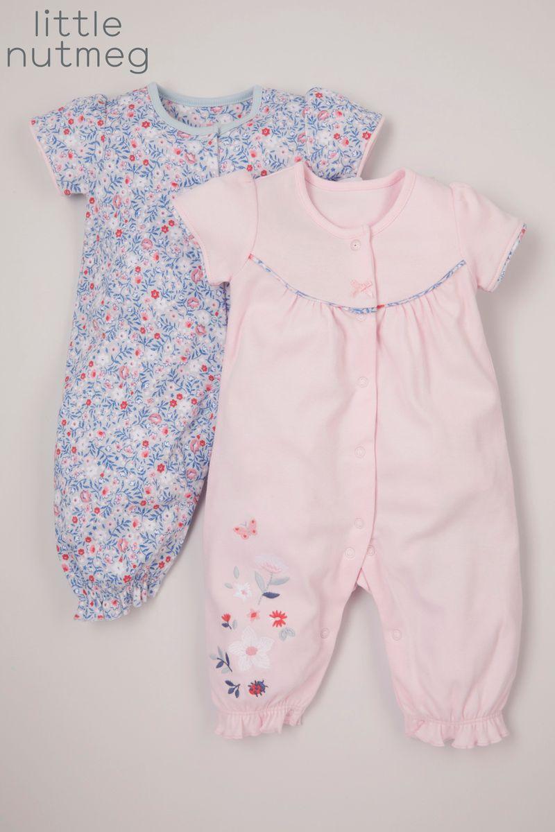 Little Nutmeg 2 Pack Pink Footless sleepsuits