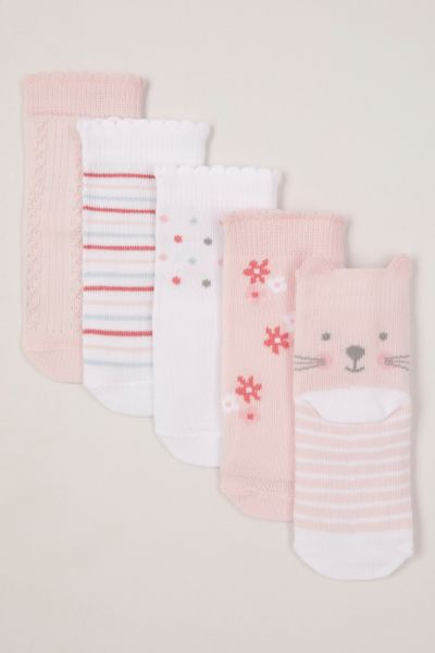 5 Pack Pink Cat socks