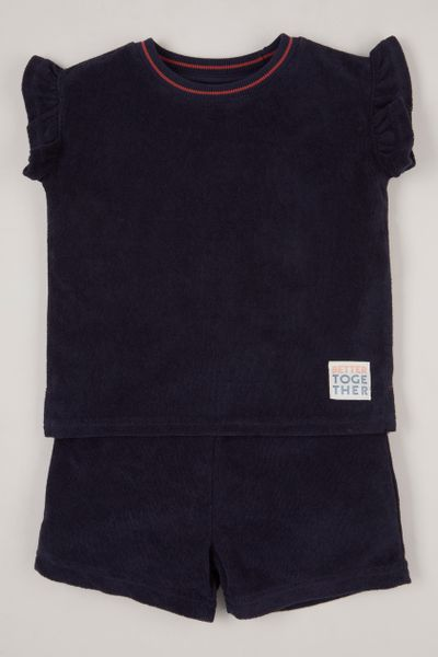 2 Piece Navy Toweling set