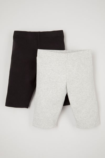 2 Pack Adjustable Waist Rib shorts