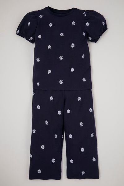 Navy Flower 2 Piece Set