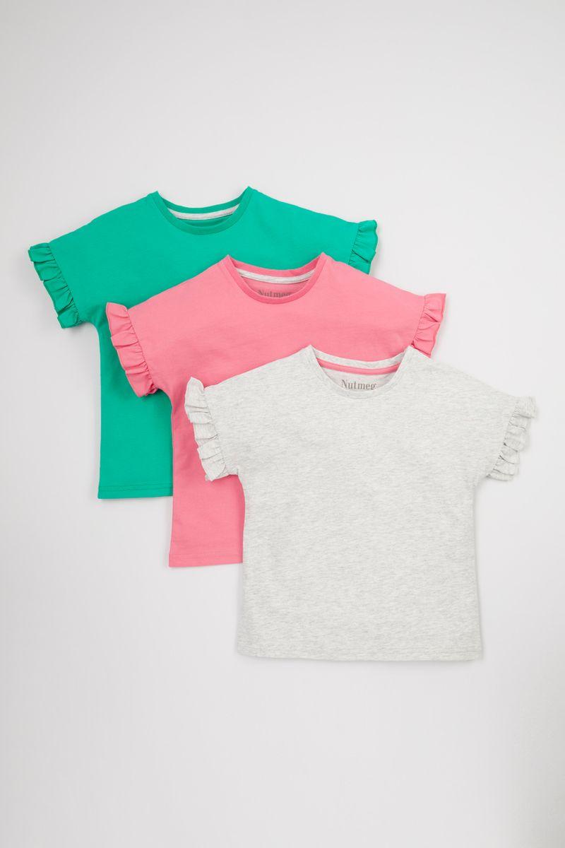3 Pack Ruffle Sleeve T-Shirts