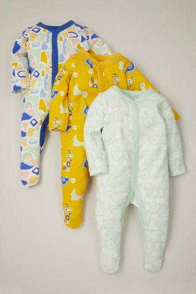 3 Pack Bright Dinosaur sleepsuits