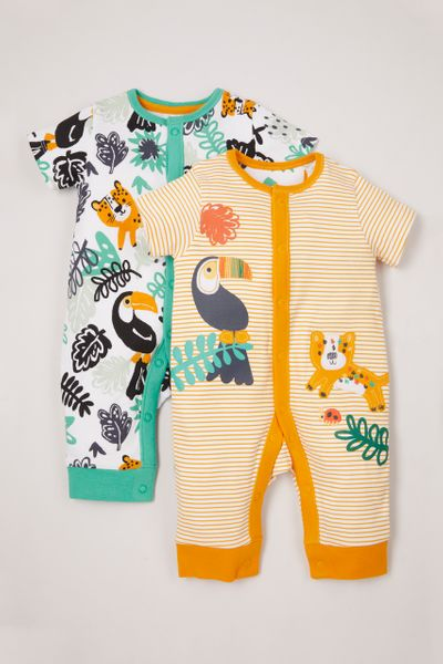 2 Pack Tropical Footless sleepsuits