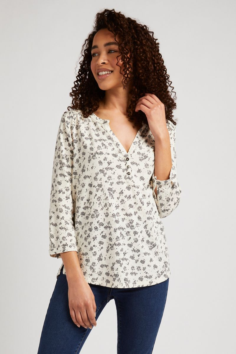 3/4 Sleeve Ditsy Floral Henley Top
