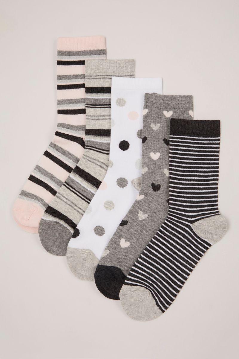 5 Pack Grey & Pink Socks