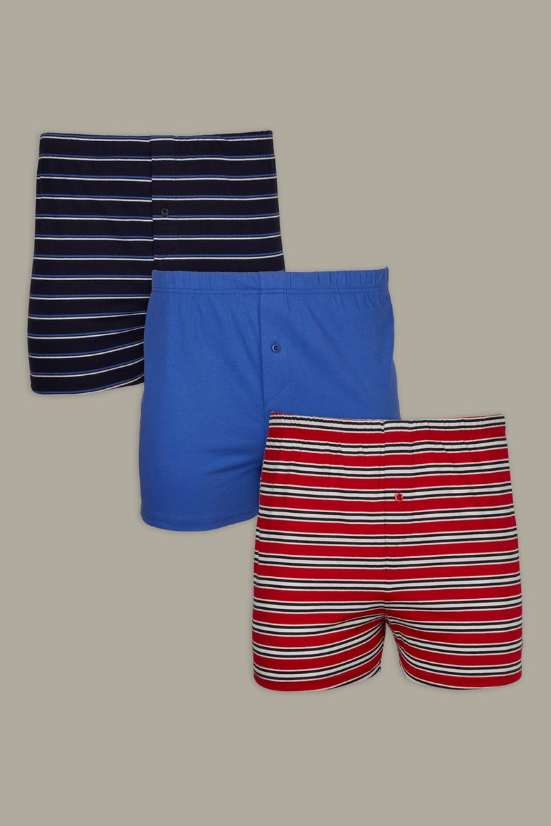 3 Pack Red Blue Stripe Boxers