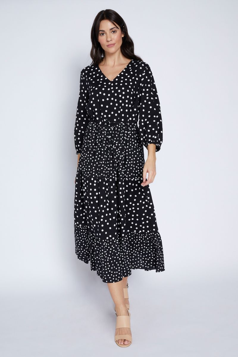 Monochrome Polkadot Tiered Dress