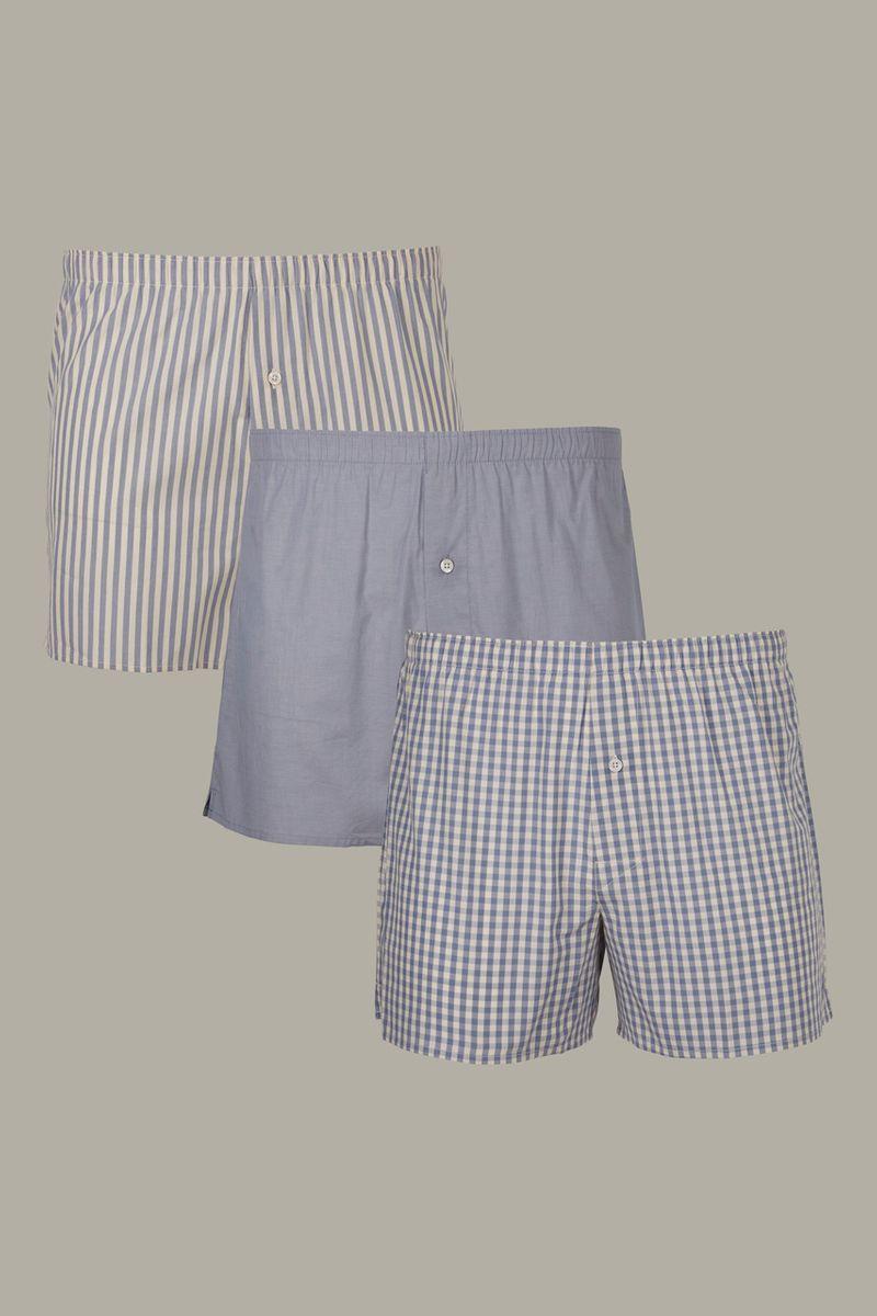 3 Pack Blue White Stripe Boxers