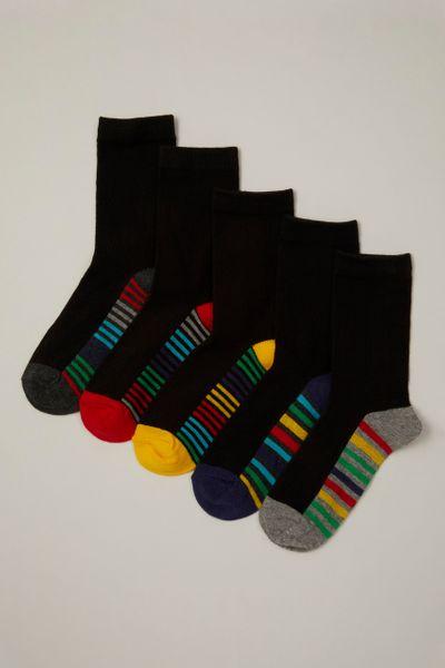 5 Pack Colourful Stripe Black Socks
