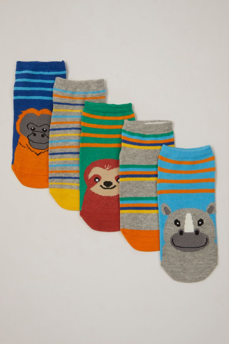 5 Pack Animal Stripe Trainer Liners
