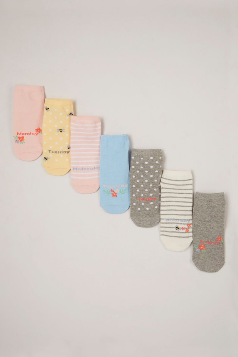 7 Pack Bee & Flower Trainer Socks