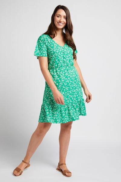 Green Ditsy Floral Tea Dress