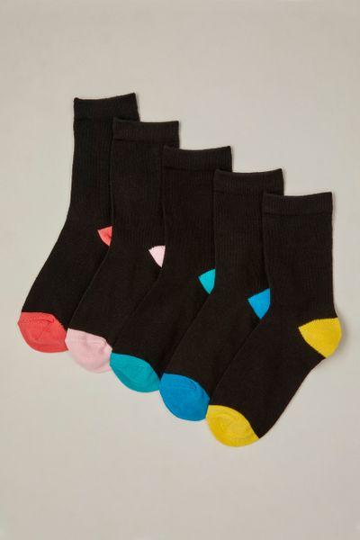 5 Pack Bright Heel & Toes Socks
