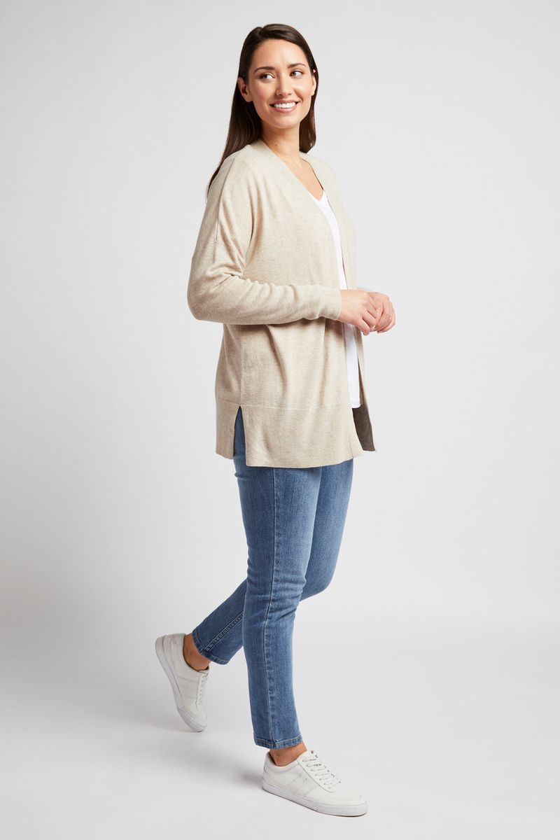 Open Front Oatmeal Cardigan
