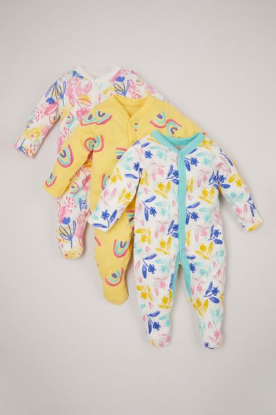 3 Pack Bright Flower sleepsuits