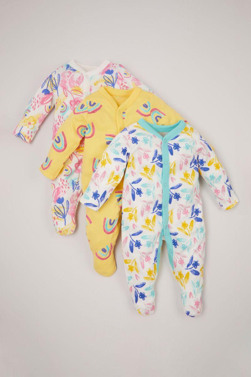 3 Pack Bright Flower sleepsuits