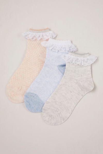 3 Pack Textured Frill Socks