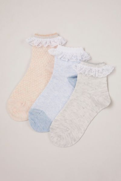 3 Pack Textured Frill Socks