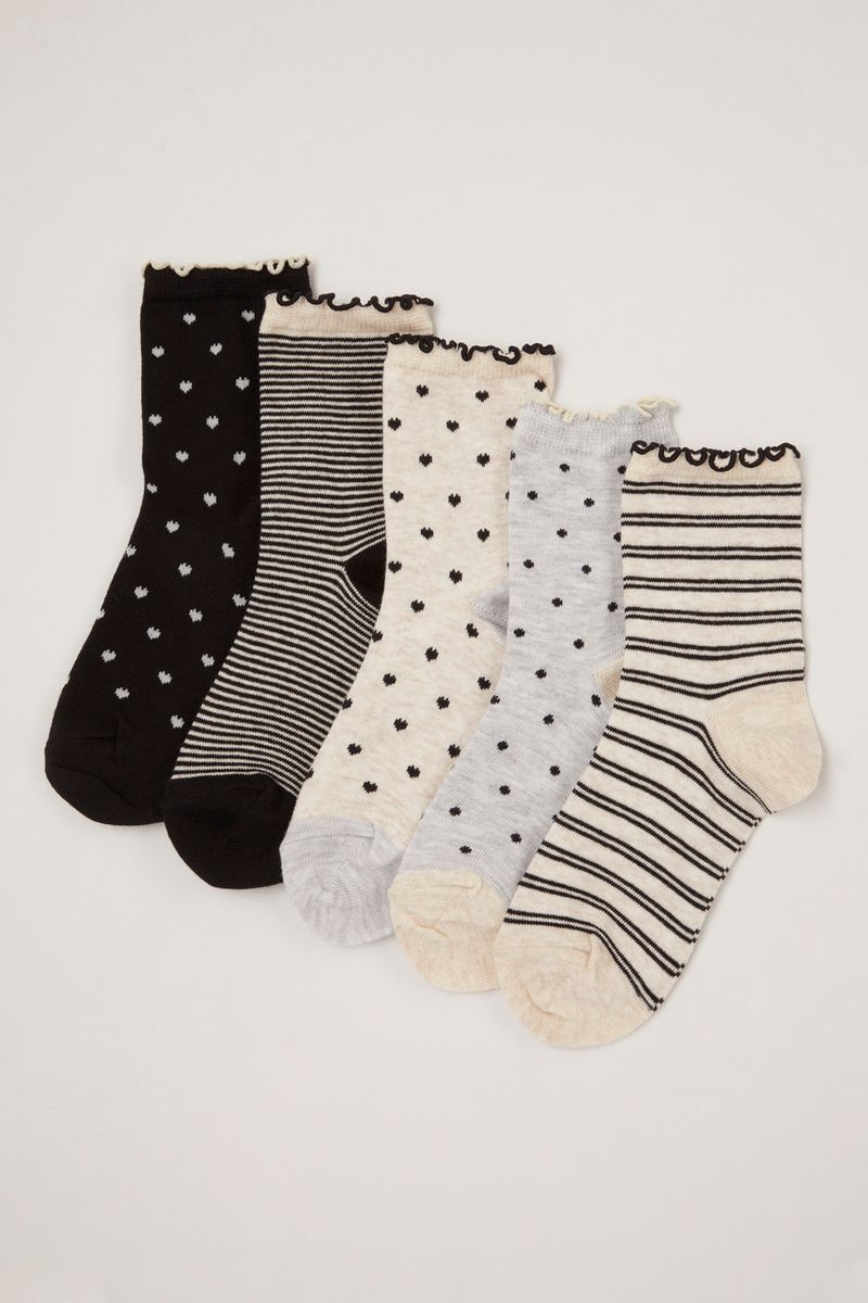 5 Pack Mono Print Socks