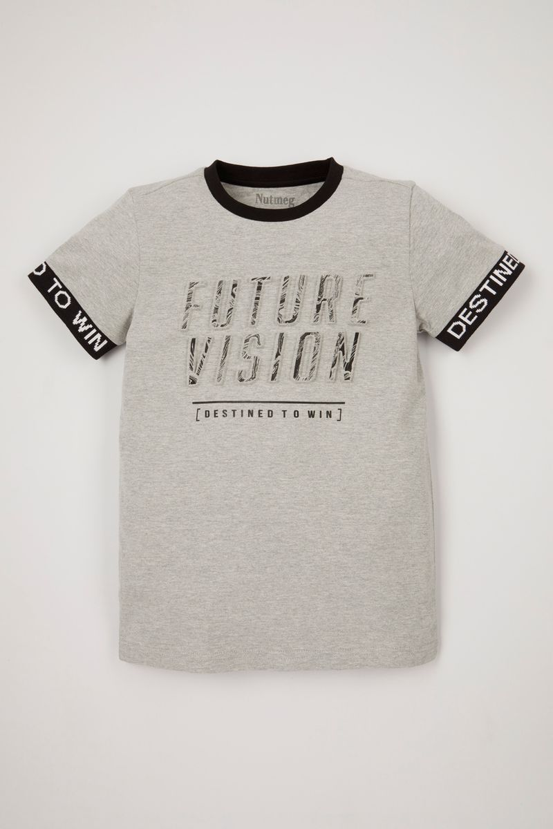 Marble Embossed Slogan T-shirt
