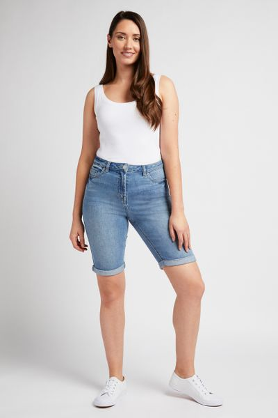 Light Wash Longline Shorts