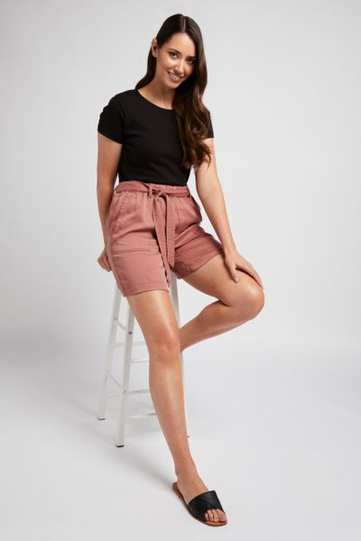 Rust Tencel Shorts