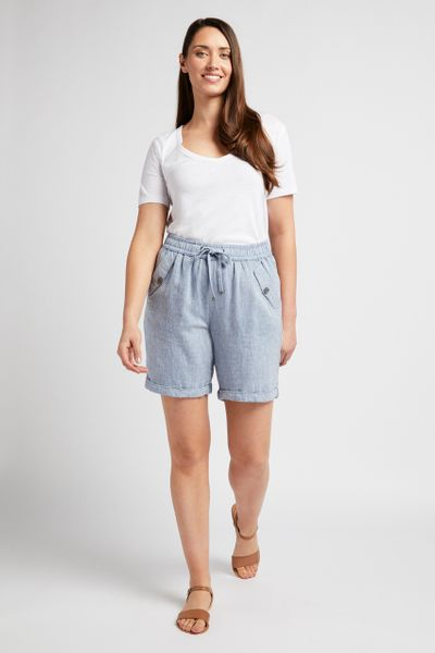Light Blue Linen Shorts
