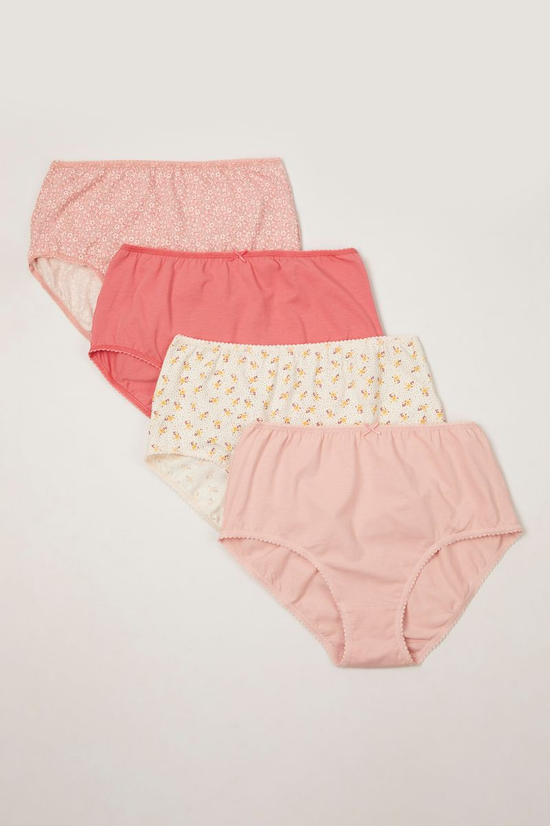 4 Pack Pink and Ditsy Floral Full Briefs
