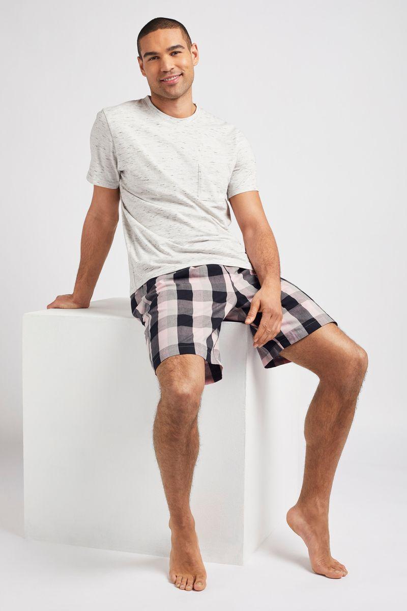 Navy & Pink Check Short Pyjamas
