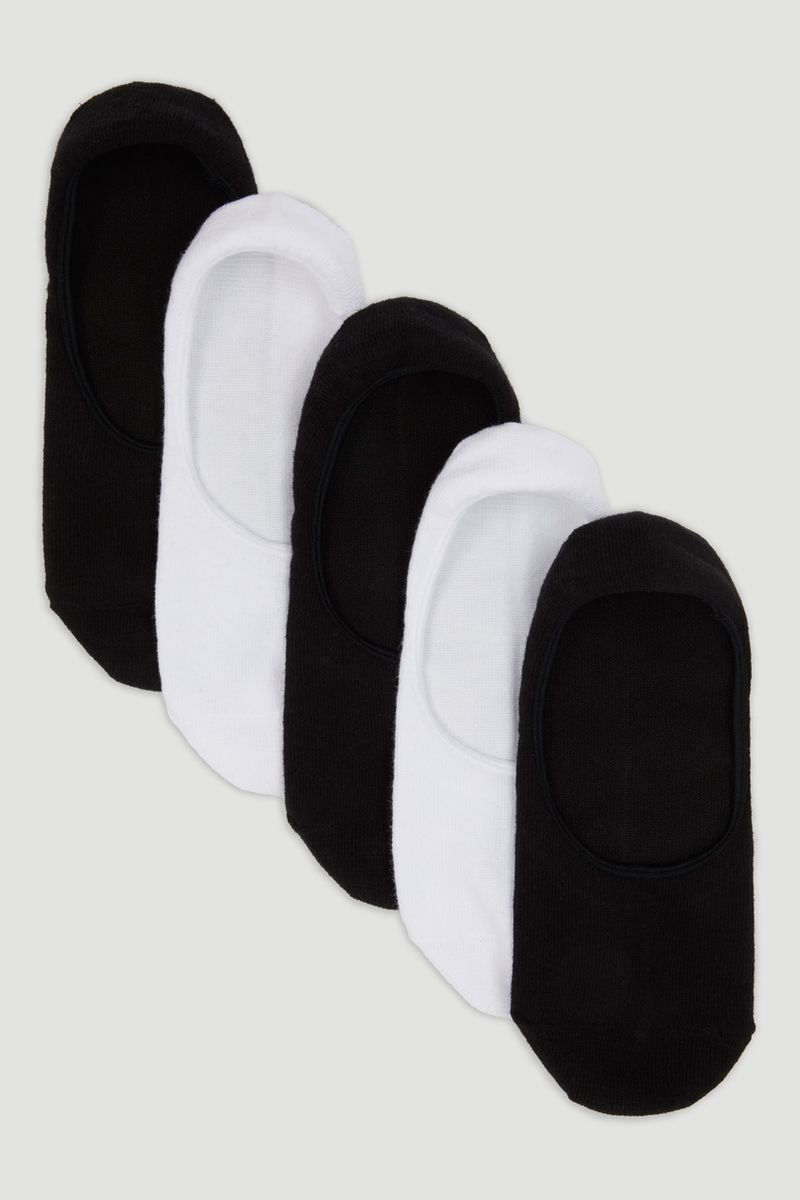 5 Pack Black & White Footsie Socks