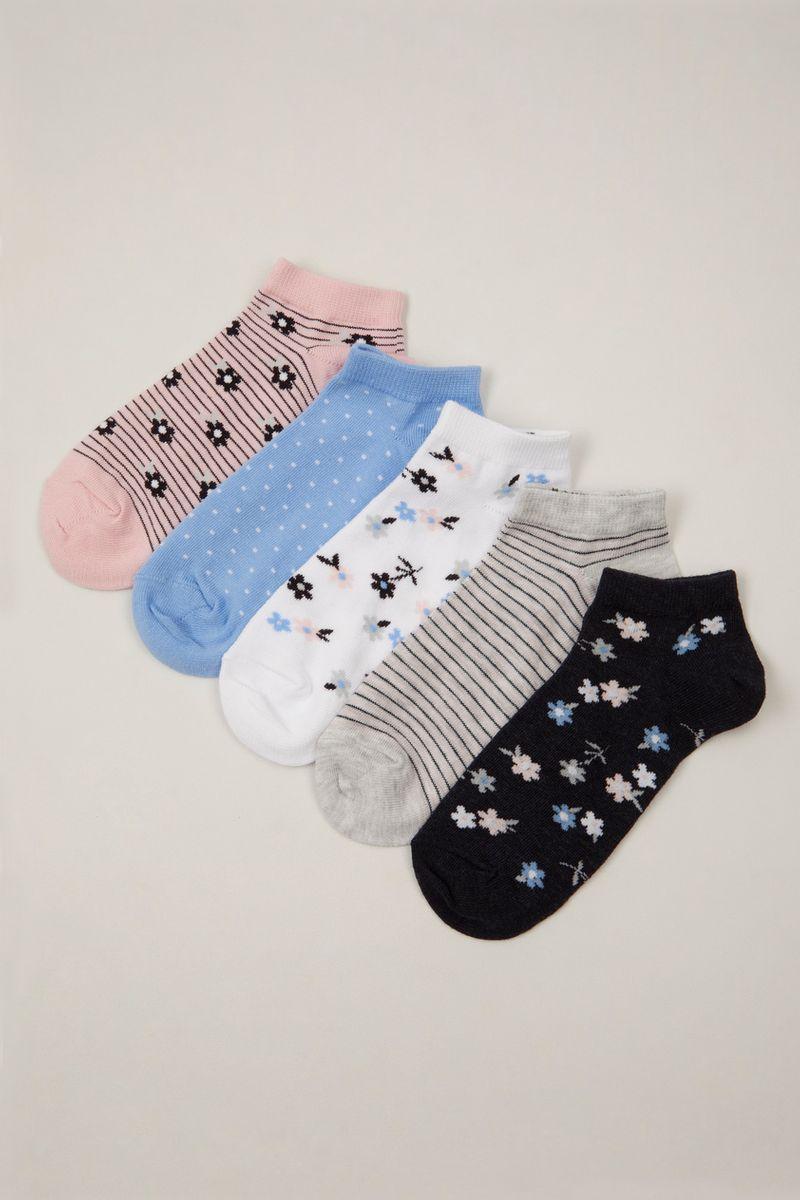 5 Pack Denim Floral Trainer Sock