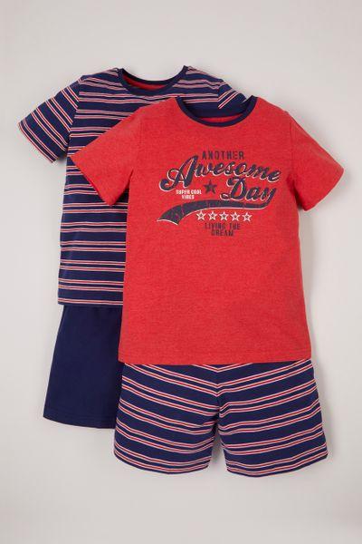 2 Pack Slogan Stripe Pyjamas