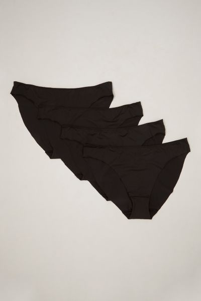 4 Pack Black High Leg Briefs