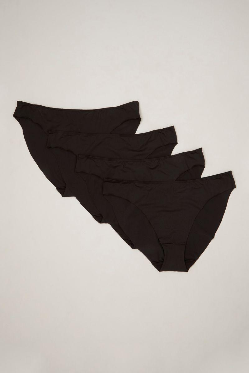 4 Pack Black High Leg Briefs