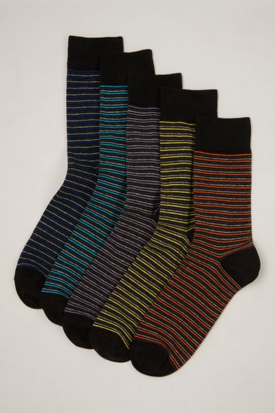 5 Pack Purple & Yellow Stripe Socks