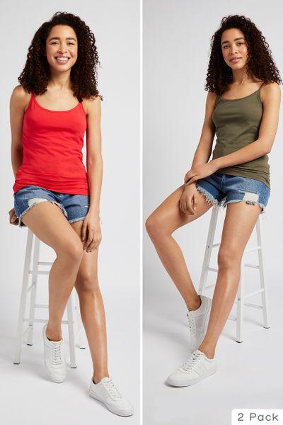 2 Pack Red & Khaki Camis