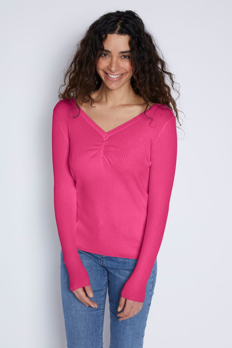 Pink Gathered V-Neckline Jumper