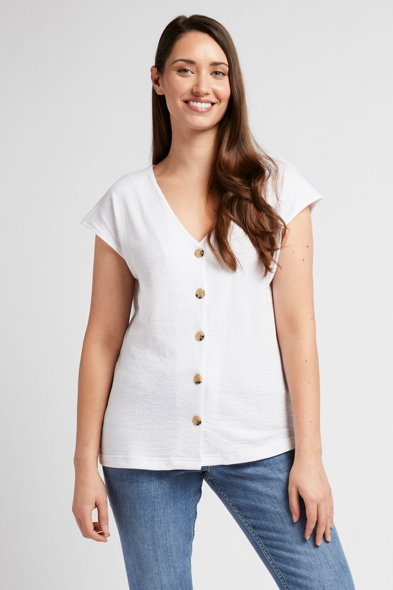 Cream Button Top