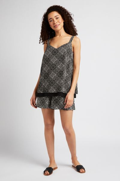 Tile Print Split-Back Cami