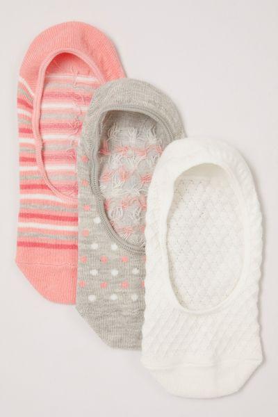 3 Pack Pink White Grey Footsies