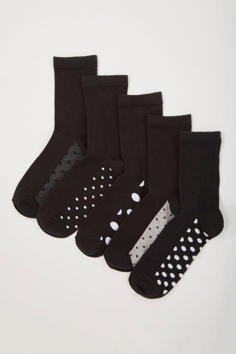 5 Pack Black & White Spot Sock