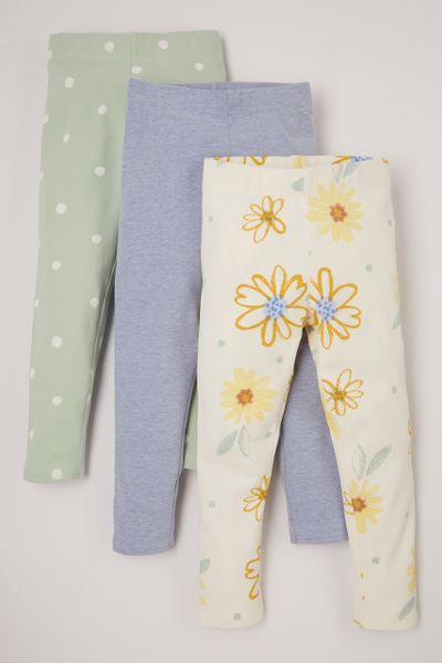 3 Pack Yellow Sunflower Leggings